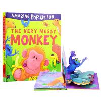 Amazing Pop-Up Fun The very Messy Monkey 欢乐的猴子 3D立体故事机关绘本 创