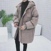 ins冬季男士外套加长加厚款棉袄棉衣服面包服韩版潮流情侣羽绒服 咖啡色 S