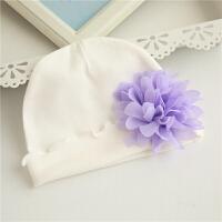 女宝宝帽子春秋季薄款0-3-6个月新生儿胎帽纯棉满月婴儿帽子套装 乳白色 白色小紫花帽 均码 0-3个月