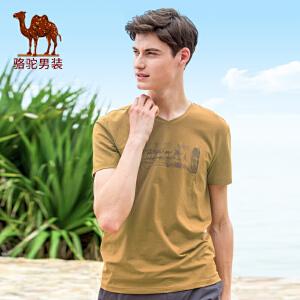 骆驼男装 夏季新品时尚男款印花青年V领日常休闲短袖T恤衫男