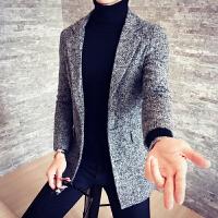 秋冬中长款翻领修身大衣青年男式单排扣外套毛呢大衣料毛呢大衣