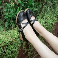 女鞋春夏季2019新款韩版百搭交叉带浅口单鞋子女粗跟中跟小皮鞋潮