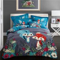 【人�狻�3D全棉卡通加厚磨毛三四件套�棉床�伪惶啄信�孩�和�床上用品套件