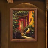 装饰画 有框画 油画 东南亚 复古风格 过道 玄关挂画 家装饰品 军绿色 70*90 单幅