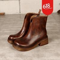 原创原创真皮女鞋秋冬款欧美简约英伦风复古短筒时尚手工鞋马丁靴GH025