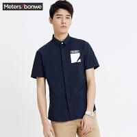 美特斯邦威男短袖衬衫夏新款男士短袖衬衫休闲印花衬衣225189