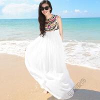 夏季露肩刺绣民族风白色雪纺连衣裙波西米亚长裙海边度假沙滩裙