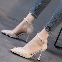 白色高跟鞋女秋冬2019新款百搭细跟尖头猫跟鞋中空一字扣单鞋春季 米色 跟高6厘米