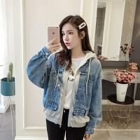 牛仔外套女2019秋季韩版宽松连帽学生拼接夹克假两件上衣