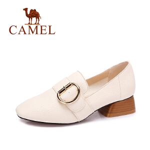 Camel/骆驼女鞋新品时尚粗跟鞋女 方头金属扣优雅舒适中跟单鞋