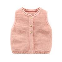 婴儿春装背心新生儿针织开衫纯棉马夹男3个月女宝宝马甲春秋坎肩