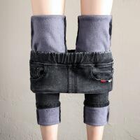 加绒牛仔裤女松紧高腰冬季加厚外穿2018新款韩版显瘦小脚紧身黑色