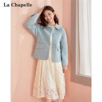 拉夏���甜美清新短款�p面羊毛羊�q大衣女冬季2020年新款呢子外套