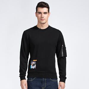才子男装(TRIES)长袖T恤 男士2017新款黑色简约时尚酷炫百搭长袖T恤