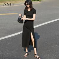 【AMII 超级品牌日】Amii[极简主义]2017夏女新纯色短袖高开叉修身大码连衣裙11741403