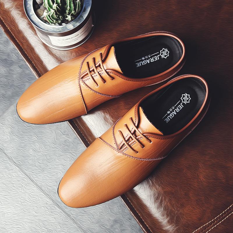 杰拉格皮鞋男士正装鞋春夏新品真皮休闲套脚商务男鞋软底透气婚鞋