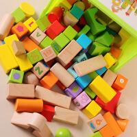 一1-2-3岁半宝宝桶装木制积木木头儿童拼装益智早教