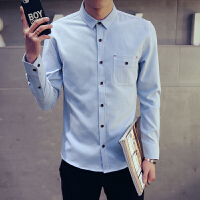 2016春季新款时尚男 士长袖衬衫潮韩版男装纯色青少年休闲衬衣