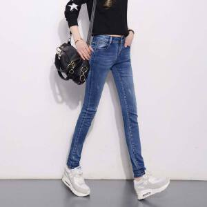 Modern idea女装牛仔休闲长裤2017潮流牛仔裤女大码女式裤子