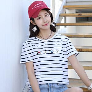 初夏新款韩版短袖女t恤女装学生衣服宽松显瘦女