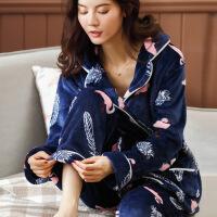 秋冬珊瑚绒睡衣女冬季加厚加绒韩版可爱法兰绒长袖开衫家居服套装