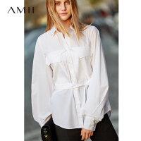 Amii极简气质灯笼袖绑带衬衫2019秋新白衬衫黑色纯色通勤全棉衬衫