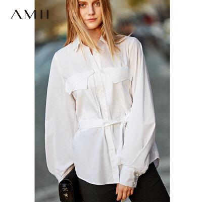 【到手价176元】Amii极简气质灯笼袖绑带衬衫2019秋新白衬衫黑色纯色通勤全棉衬衫 AMII-极简主义女装领导者!