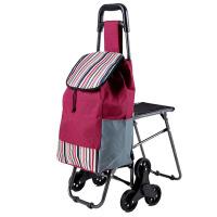 家用老年小拉车6轮子 便携购物车爬楼布袋可折叠买菜车拉杆坐