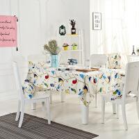 祥然 全棉美式田园印花桌布抱枕 长方形格子餐桌布椅垫餐椅套装