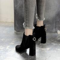 短靴子粗跟高帮鞋女学生韩版新款高跟加绒女鞋冬尖头英伦风马丁靴
