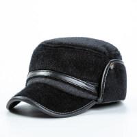 光板平顶毛呢帽子 冬天男士鸭舌帽保暖中老年防风棒球帽爷爷爸爸