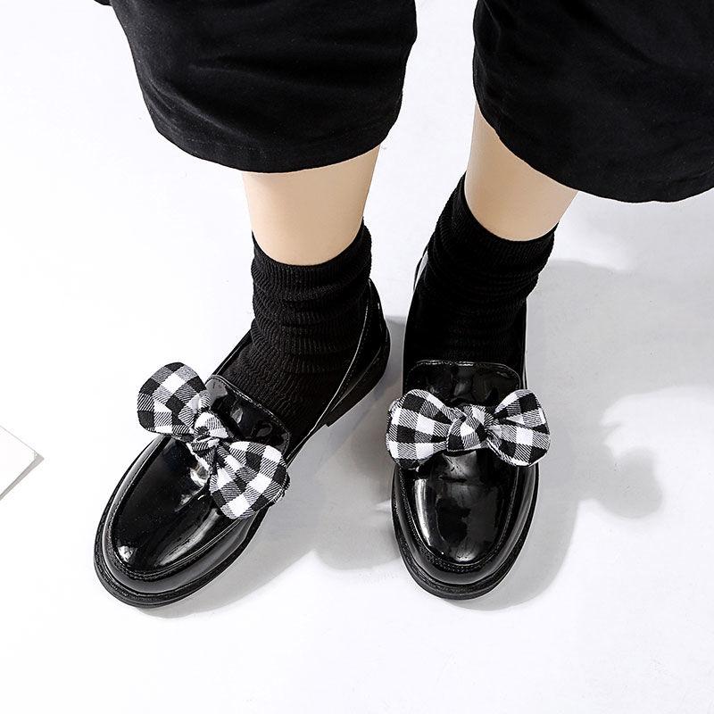 一鞋多穿韩版魔术贴女鞋英伦风小皮鞋圆头百搭平跟皮鞋休闲懒人鞋 黑色