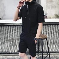 青少年夏款短袖运动服两件套装男士个性连帽英文字母五分中裤卫衣