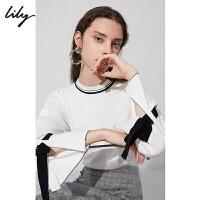 【超品日2折价119.8元】Lily春新款女装商务撞色绑带浅米宽松套头针织衫118440B8360