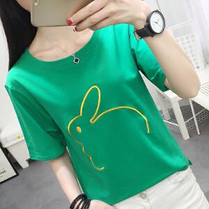 年短袖t恤女夏季韩版上衣绣花图案短袖体恤打底衫