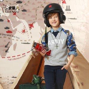 小虎宝儿童装男童纯棉春秋长袖套装 儿童圆领休闲两件套2017新款