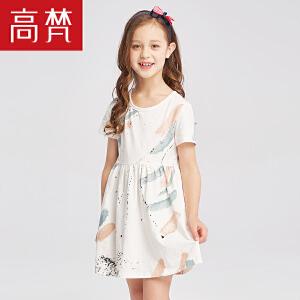 时尚印花儿童连衣裙 2018新款夏季短袖A版收腰公主裙女童夏