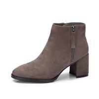 camel骆驼女鞋 冬季新款 优雅时髦踝靴绒面粗跟高跟圆头短筒靴子女