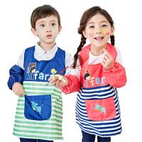 kk树新款画画衣儿童反穿衣轻薄透气宝宝居家吃饭衣耐脏防水美术衣