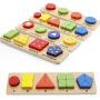 木丸子 儿童玩具几何配对木制积木形状配对积木颜色认知 益智玩具