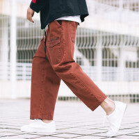 春季新品男款日系复古做旧直筒牛仔裤青少年宽松男装休闲9分裤