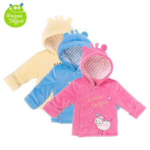【加拿大童装】Gagou Tagou婴幼儿天鹅绒夹棉带帽保暖上衣外套棉服GT1502S4013