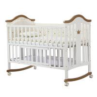 呵宝婴儿床实木欧式宝宝摇床带滚轮多功能松木加大游戏bb床
