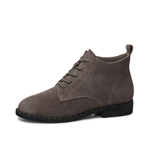 camel/骆驼女鞋  秋冬新品 时尚英伦铆钉反绒皮女靴子低跟系带马丁靴