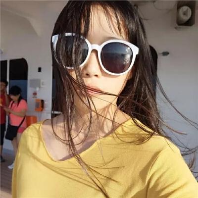明星款眼镜大框圆形女士防紫外线太阳镜韩版潮男复古圆脸白色墨镜