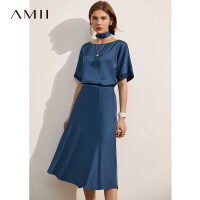 Amii极简时尚仿醋酸缎面休闲半身裙女2021夏新款雪纺衫半身裙\预售7月23日发货