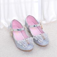 儿童秋季女童闪亮公主鞋百搭女孩子白色花童礼服鞋子