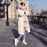 羽绒服女中长款长过膝2018新款冬装大毛领白鸭绒时尚修身加厚外套 白色 XS