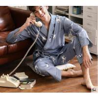 春秋纯棉长袖简约日式和服套装男士家居服可外穿情侣睡衣女
