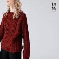 初语秋季新款 圆领波浪菠萝纹拼接保暖毛衣
